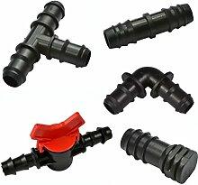 Anschlussstück für Bewässerungsrohre mit Widerhaken, frei kombinierbar, inkl. Ventil, kompatibel mit Hozelock-Rohren, 13mm, 25 Stück