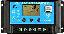 Anself 12V/24V Solar Panel Regler Laderegler mit 2 USB und LCD Display