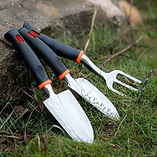 Anself 3St Gartenwerkzeug Set Gartengeräteset mit Ergonomischem Griff Inkl. Rechen und Kelle