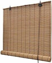 Anself Bambusrollo mit Seitenzug ohne Bohren 140cmx160cm Braun