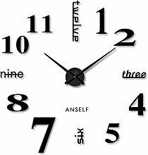 Anself DIY Moderne Wanduhr Wandtattoo Dekoration Uhr für Zimmerdeko aus Acryl Schwarz