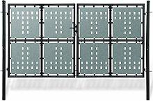 Anself Gartentür Gartentor Zauntür Doppeltor aus Stahl Inkl. Schloss 300x250/300x225/300x200 Schwarz