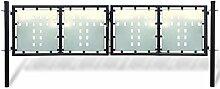 Anself Gartentür Gartentor Zauntür Doppeltor aus Stahl Inkl. Schloss 2 Typ Optional Schwarz