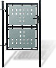 Anself Gartentür Gartentor Zauntür Einzeltor aus Stahl Inkl. Schloss 250cm/225cm/200cm/175cm Schwarz