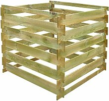 Anself Komposter Kompostsilo aus Holz mit Stecksystem 90 x 90 x 85 cm