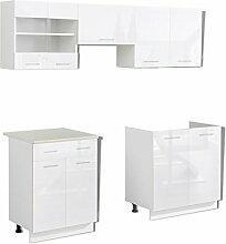 Anself Küchenzeile Küchenblock Einbauküche ohne Elektrogeräte Hochglanz 200 cm Weiß