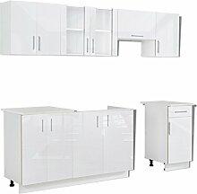 Anself Küchenzeile Küchenblock Einbauküche ohne Elektrogeräte Hochglanz 240 cm Weiß