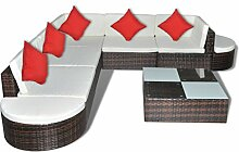 Anself Rattan Lounge Set Loungemöbel Loungeset Loungegruppe 27-teilig 2 Farbe Optional