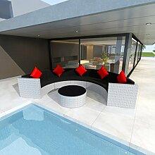 Anself Rattan Lounge Set Loungemöbel Loungeset Loungegruppe Halbrund Weiß