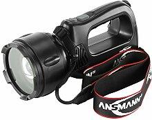 ANSMANN HSL 1 Profi Arbeitsscheinwerfer 3W/Fokussierbarer Handscheinwerfer mit integriertem Akku und Magnet inkl. Tragegurt/Robuste Taschenlampe für Camping Jagd oder Werksta