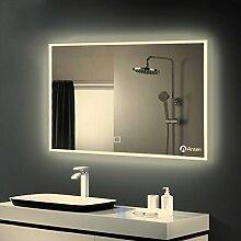 Anten 25W 100x60cm Sensor-Touchfeld Badspiegel Spiegelleuchte mit Beleuchtung Natrualweiß 4000-4500K AC110-240V Sensor Wandspiegel Sensorleuchte Wandspiegel Eckig LED Litch,Dick:4cm [Energieklasse A+]