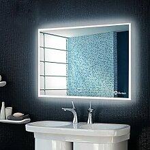 Anten Bad Spiegel für Schminktisch und Spiegelschrank Badspiegel mit LED Beleuchtung/ Wandspiegel Groß/ Spiegelleuchte/ Spiegel Badezimmer 19W Kaltweiß 6000k AC110-240V mit Touch Schalter: Bohren, Wandmontage