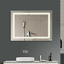 Anten Badspiegel LED Spiegel 18W Badspiegel mit LED Beleuchtung Wandspiegel,Badspiegel mit Beleuchtung Badezimmerspiegel (80 x 60 cm, Kaltweiß)
