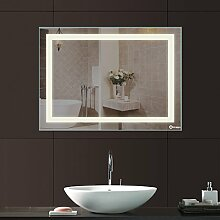 Anten® Elegant 18W LED Spiegelleuchte 4000K Neutralweiß IP65 LED Wand Spiegel mit Beleuchtung 80x60cm Eckig