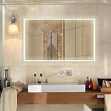 Anten® Elegant 25W LED Spiegelleuchte 3000K Warmweiß IP65 LED Wand Spiegel mit Beleuchtung 100x60cm Rund Lich