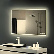 Anten® LED Badspiegel mit Beleuchtung 25W neutralweiß IP44 Badezimmerspiegel mit Sensor-Schalter 60x100 cm