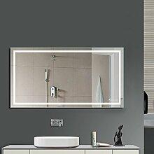 Anten LED Lichtspiegel, 100 x 60cm Badspiegel mit 23W Kaltweiß rechteckig Beleuchtung, Bad Badzimmer Spiegelleuchte mit Schalter