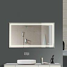 Anten LED Lichtspiegel, 100 x 60cm Badspiegel mit 23W Neutralweiß rechteckig Beleuchtung, Bad Badzimmer Spiegelleuchte mit Schalter
