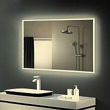 Anten LED Lichtspiegel, 100 x 60cm Badspiegel mit 25W Neutralweiß rechteckig Beleuchtung, Bad Badzimmer Spiegelleuchte mit Schalter
