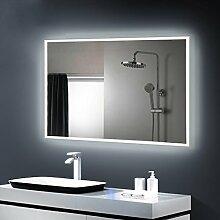 Anten LED Lichtspiegel, 80 x 60cm Badspiegel mit 18W Kaltweiß (4000k-4500k)rechteckig Beleuchtung, Bad Badzimmer Spiegelleuchte mit Schalter