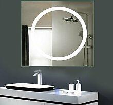 Anten LED Lichtspiegel, 80 x 80cm Badspiegel mit 18W Kaltweiß rund Beleuchtung, Bad Badzimmer Spiegelleuchte mit Schalter an der Seite