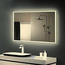 Anten LED Lichtspiegel,80x60cmBadspiegel mit19W Neutralweiß rechteckig Beleuchtung,Bad Badzimmer Spiegelleuchte mit Schalter