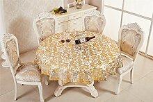 Antexn Gilding PVC Tischdecke mit Blumenmuster und Öl-Stil mit Kunststoff-Tischdecke runde Tischdecke mit Spitze 70cm Durchmesser gold