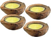 Anti-Mücken-Kerzen in Kokosnuss-Schale (4er Set)