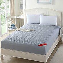 Anti-Rutsch Staubdicht Ripple Matratze Schutzfolie Polyester Faser Füllung ( Farbe : Grau , größe : 180*200cm )