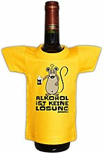 Antialkoholiker lustiges Mini T-Shirt Flaschen Shirt Geschenk Partygag Deko in gelb Alkohol : )