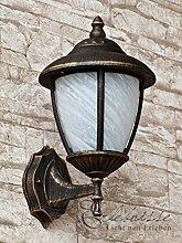 Antik - farbende Wand LED Energiespar-Außenleuchte 5 Watt mit Alabasterglas up aus Aluguss Außenlampe Wandleuchte