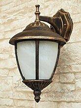 Antik - farbende Wand LED Energiespar-Außenleuchte 5 Watt mit Alabasterglas down aus Aluguss Außenlampe Wandleuchte