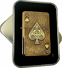 Antik Gold Star Feuerzeug mit Lucky Ace of Spades