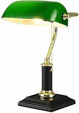 Antik Retro Tischlampe, Bankerlampe mit grün