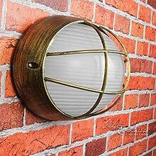 Antik rustikale Schiffs-Lampe Außen-Leuchte Amsterdam in gold/E27 bis 60W IP44/Außenwandlampe nostalgisch Beleuchtung outdoor Hof Garten