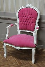 Antik Sessel weiß lackiert rosa Bezug antik Stil Massivholz. Replizierte Antiquitäten von LouisXV Buche (Ahorn, Mahagoni, Eiche) Antikmessing Beschläge, furniert, intarsier