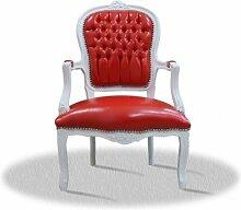 Antik Sessel weiß rot Skai Bezug antik Stil Massivholz. Replizierte Antiquitäten von LouisXV Buche (Ahorn, Mahagoni, Eiche) Antikmessing Beschläge, furniert, intarsier
