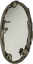Antik Silber/Zinn Oval Blumen Metall Wandspiegel ~ Vintage-Stil