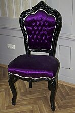 Antik Stuhl im Barocken Stil lila Samt/Velour Bezug
