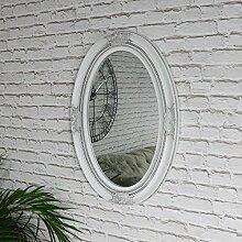 Antik Wandspiegel, oval, verschnörkelt, weiß 50cm x 70cm