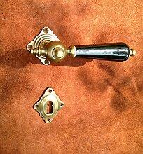 Antikas - Antik-Tür Beschlag, Türdrücker Messing u. Porzellan, mit Rosetten für Innentüren