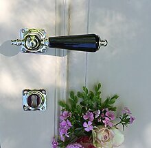 Antikas - Antikas - Tür-Set für antike Türen, Nickel poliert Keramik-Türklinken Retro-Design, Antik