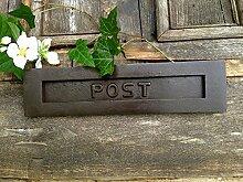 Antikas - Briefschlitz aus Antik-Eisen, großer Posteinwurf/Briefkasten-hochwertig gemach