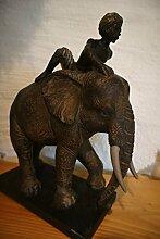 Antikas - Indischer Reiter auf Elefant - Skulptur,