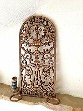 Antikas - Kaminplatte mit Kerzenhaltern im Jugendstil-Wand-Relief, Wanddekoration am Ofen