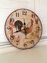 Antikas - Küchen Uhr, Landhaus-Dekoration Hahn, wie antike Küchenuhr aus bemaltem Holz