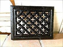 Antikas | Lüftungsgitter für den Kachelofen | Länge 15,5 cm x Breite 12 cm x Tiefe 4 cm | Gusseisen | schwarz | Dekoration in antik Optik