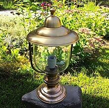 Antikas - Messing Sockellampe, Außenleuchte - Standlampe maritim für Pfeiler Lampe stehend