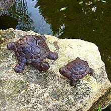 Antikas - Mutter Kind Schildkröten Dekoration Steinbeet Terrasse Teich, wetterfest Eisen