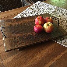 Antikas - Rustikales Holz Tablett - Holzbrett